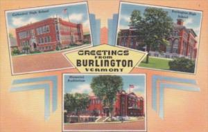 Vermont Greetings From Burlington High School Cathedral & Memorial Auditorium