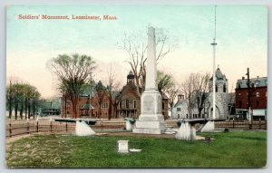Leominster MA~Common~Civil War Soldiers Monument~Ball's Bluff Battle~Cannon~1910