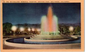 HOLLYWOOD, CA    MULLHOLLAND FOUNTAIN at  GRIFFITH PARK  c1940s   Linen Postcard
