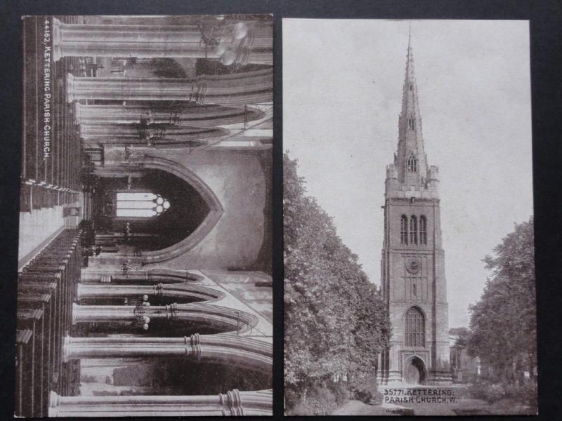 Northampton: Kettering Parish Chuch, 2 Old Postcards by Photochrom Sepia Series