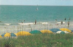Umbrellas line the stand,  Myrtle Beach,  South Carolina,  50-70s