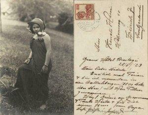 indonesia, SUMATRA, Young Native Batak Girl, Jewelry (1923) RPPC Postcard
