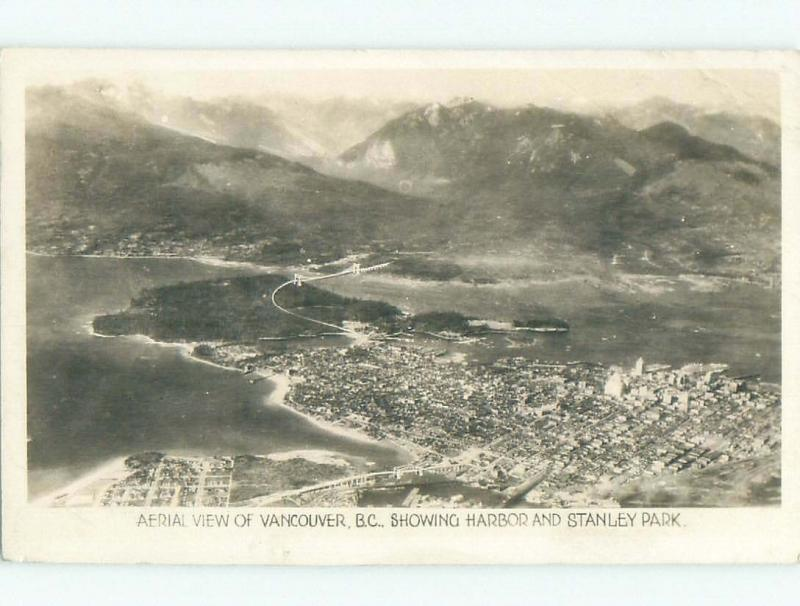 1940's rppc AERIAL VIEW Vancouver British Columbia BC W0945