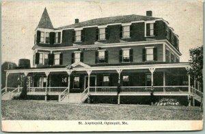 Ogunquit, Maine Postcard St. Aspinquid Hotel Front View w/ 1911 Cancel