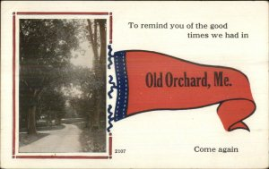 Old Orchard ME Pennant Greeting c1910 Postcard