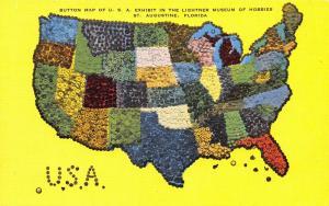 St Augustine Florida~United States Button Map~1940s Linen Postcard