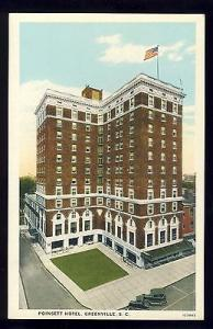 Early Greenville, South Carolina/SC Postcard, Poinsett Hotel, 1920's?