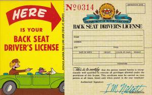 Back Seat Driver's  License Number 0314