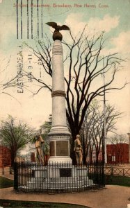Connecticut New Haven Broadway Soldiers Monument 1911