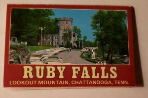 Vintage Postcard booklet Ruby Falls Lookout Mountain Chattanooga Tennessee 1990
