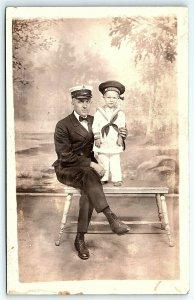 VTG Postcard RPPC Real Photo US Sailor Navy Boy Child Toddler Dressed Man A3