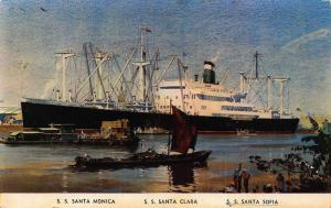 S. S. Santa Monica Santa Clara Sofia Postcard