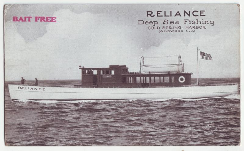 P921 old card sports deep sea fishing boat reliance cold spring haror new jersey