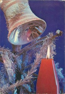Postcard Holidays Winter seasonal greetings merry christmas candle red bell