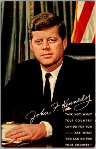 JOHN F. KENNEDY Postcard JFK Ask Not What Your Country Can Do For You… c1960s