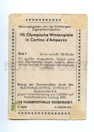 167018 Olympic Winter Games CORTINA d'Ampezzo CIGARETTE card