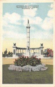 LPS26 Richmond Virginia Jefferson Davis Monument Postcard