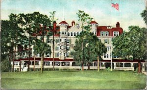FLORIDA POSTCARD: OLD HISTORIC HOTEL COLLEGE ARMS IN DE LAND, FLORIDA