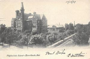 Terre Haute Indiana~Polytechnic School~1907 B&W Postcard