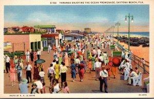 Florida Daytona Beach Throngs Enjoying The Ocean Promenade 1933 Curteich