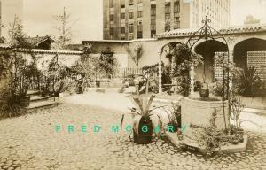1935 New York City RPPC: Rockefeller Center Spanish Garden