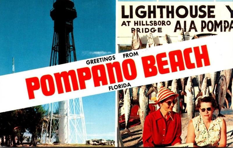 Florida Pompano Beach Greetings With Lighthouse & Fishing Pier