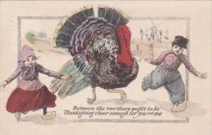 Thanksgiving With Turkey Running With Dutch Kids 1911