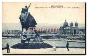 Postcard Old Marseille Monument to the Heroes of the Sea and the Cathedral