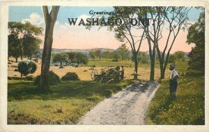 Washago Ontario Canada~Farm Threshing Machine~Farmer~Dirt Path~1922 Postcard