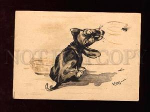 007626 BONZO Funny PUPPY w/ BEE by FIEBER vintage PC