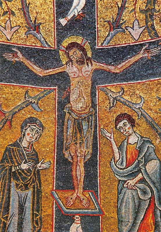Italy Roma Basilica of St. Clement Mosaic of the Apse Crucified Christ (12th c.)