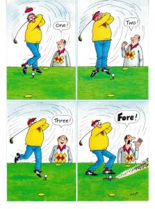 Post Card Comic / Golf The Funny Side of Life One! Two! Three! Fore!  J. Salmon