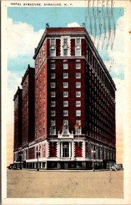 Hotel Syracuse NYC NY c1920s Street View Old Cars Corner Midtown Vtg Postcard
