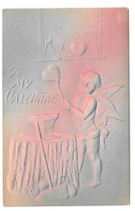 Valentine Cupid Forging a Heart on His Anvil Air Brushed Embossed Postcard 1908