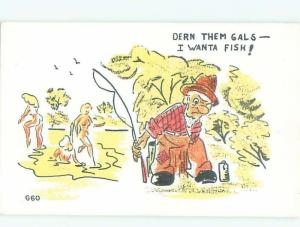 Pre-1980 Risque Comic FISHERMAN AT POND WITH SKINNY-DIPPING GIRLS AB6919