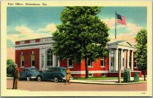 1940s Statesboro Georgia Postcard POST OFFICE Building Street View Tichnor Linen