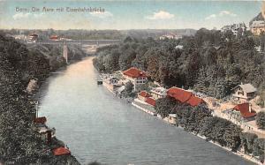 Switzerland Old Vintage Antique Post Card Bern Die Aare mit Eisenbahnbrucke W...