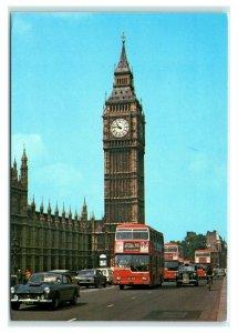 Postcard Metro-Scania Buses on Westminster Bridge Big Ben London MA7
