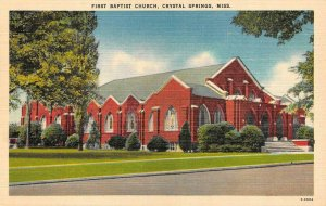 CRYSTAL SPRINGS, MS Mississippi  FIRST BAPTIST CHURCH Copiah Co c1940's Postcard