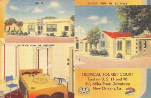 New Orleans~Tropical Tourist Court~Interior~Art Deco Office~Roadside US 90~Linen