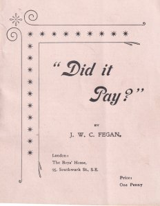 London Boys Home Reform Did It Pay Child Orphanage Homeless Ephemera Book