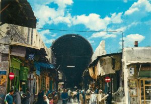 Postcard Syria Damascus La Rue Droite street view ethnic types