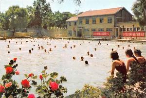 Japan Old Vintage Antique Post Card Swimming Pool in Labour Park Unused