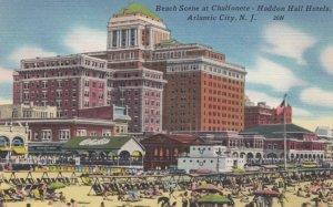 ATLANTIC CITY, New Jersey, 1930-40s; Beach Scene at Chalfonete-Haddon Hall Ho...