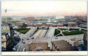 Providence RI Postcard Bird's-Eye View  Union Station & Capitol Hill c1910s Un