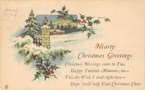 Christmas Post Card Old Xmas Postcard 1924