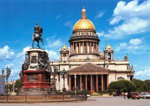 Russia St Petersburg Postcard St Isaac's Cathedral Emperor Nicolas I Monument X7