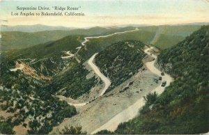 Bakersfield California 1924 Ridge Route Serpentine Drive Postcard Western  9804