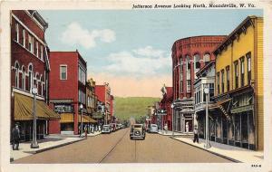 B25/ Moundsville West Virginia WV Postcard 1953 Jefferson Ave Stores Cars