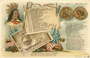 1903 Revolutionary war Military Patriotic Indian Chief Medal Card index Postcard